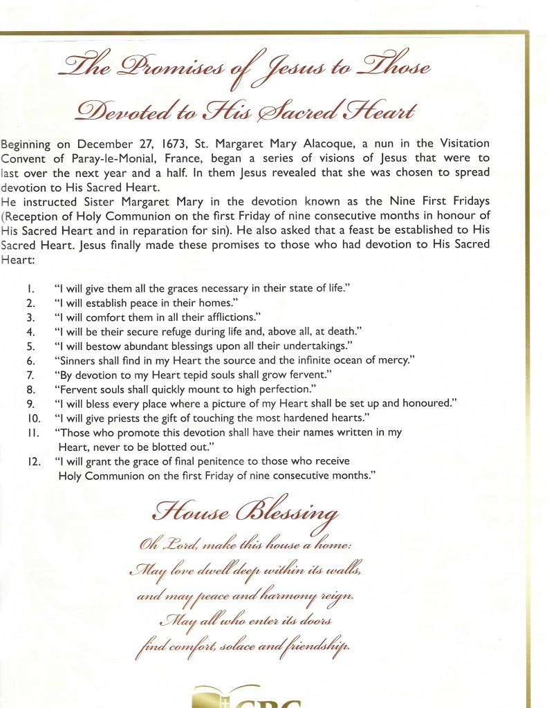 12 PROMISES OF JESUS T0 TH0SE DEVOTED TO HI ACRE HEART